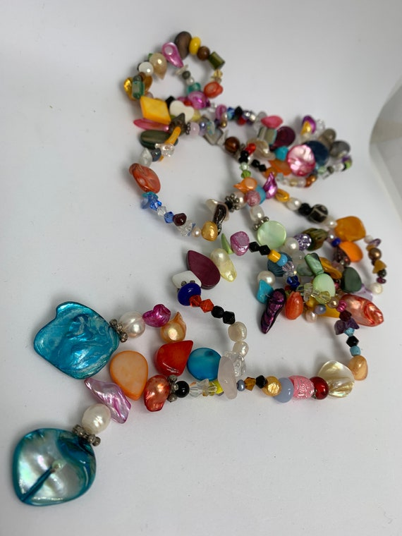 Vintage Rainbow Beaded Tassel Flapper Necklace of Cheerful Gems Pearls & Crystal Beads, great Pride Necklace!