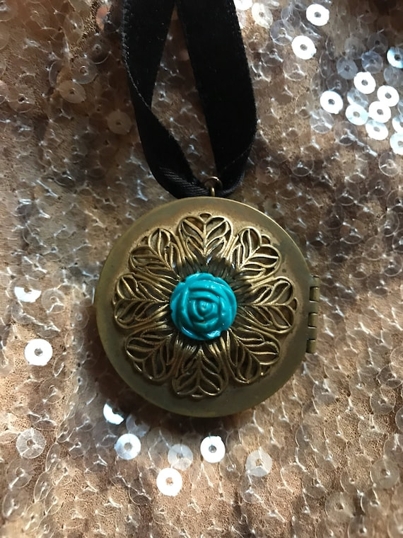 Vintage Brass Pin Box Locket Pendant with Scroll work & blue Flower decoration