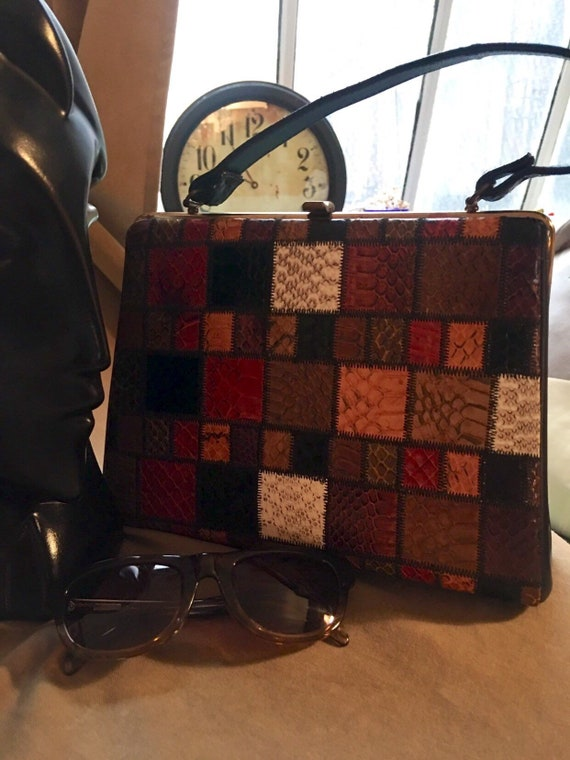 Rainbow Patchwork Skin Print Purse Handbag