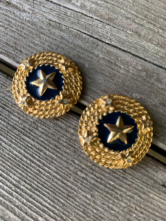 Vintage Nautical Gold Star & Dark Navy Blue Enamel Statement Earrings, Classic 80s Glamour Jewelry