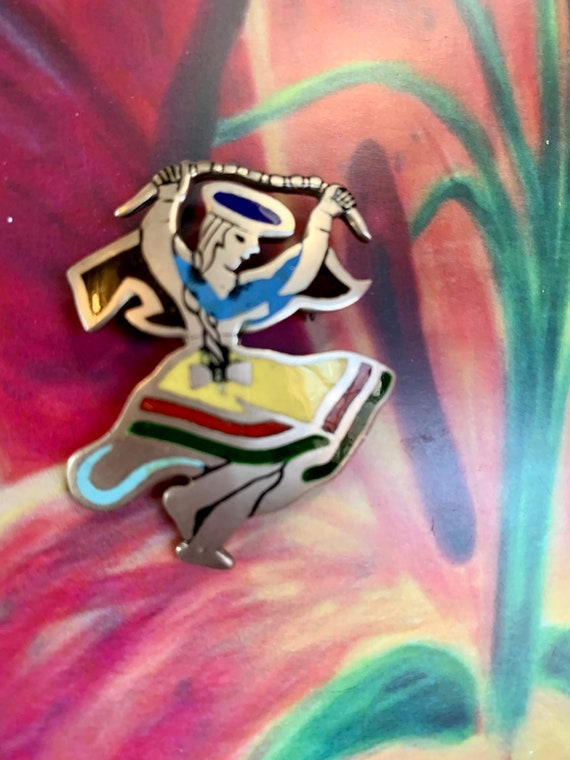 Festive Peruvian Dancer Pin, Rainbow Enamel on Sterling Silver Vintage Brooch, signed Peru 925