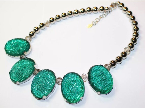 Glitzy blue green Sparkly Disco Choker statement necklace