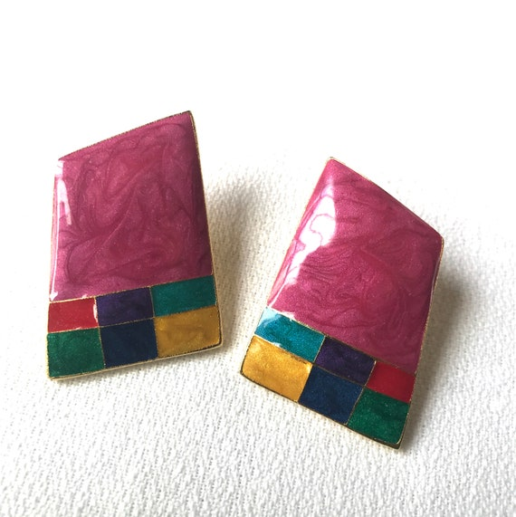 Assymetric Abstract Modern 80s New Wave Hot Pink & Colorblocked Baus Haus Style  Signed Berebi Earrings