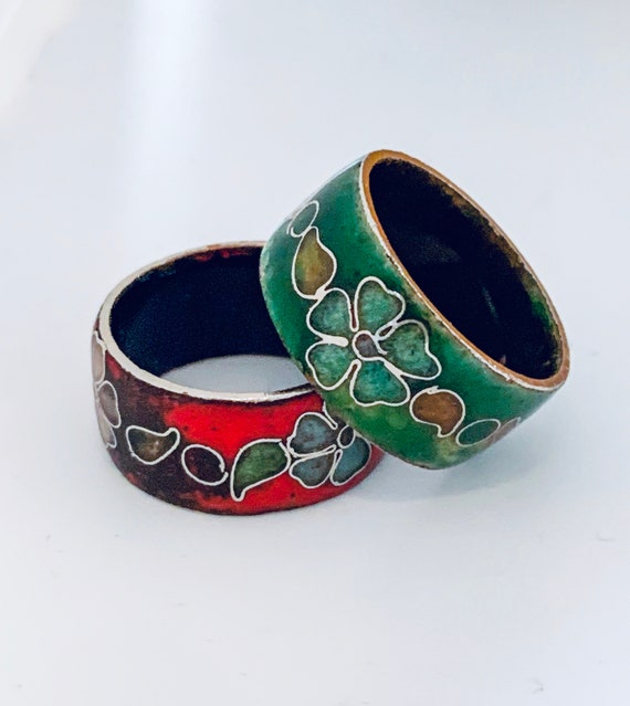 Couple Rings, Antique Cloisonné Rings, Bali Style 60s 70s Boho Gypsy Hippy Surf Jewelry size 7.25-7.5 commitment rings