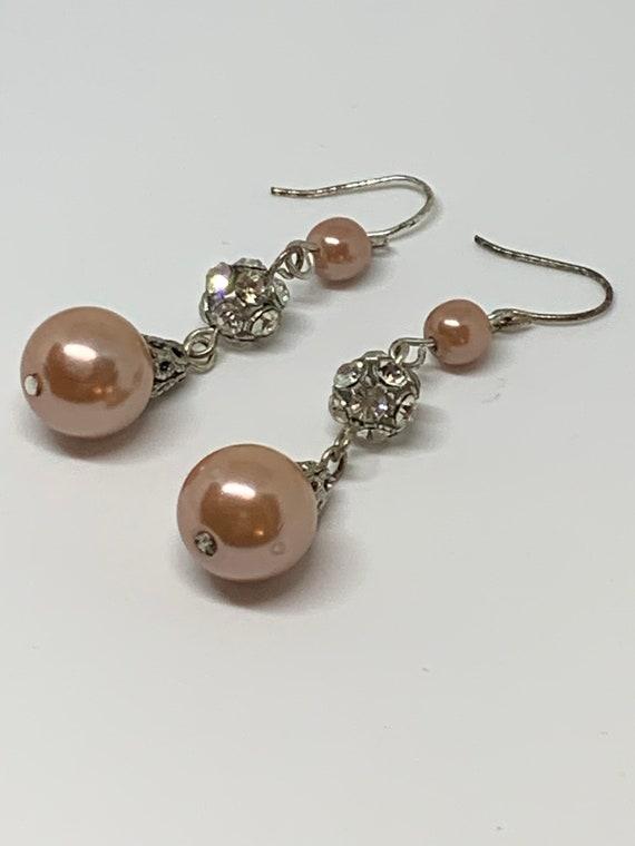 Vintage Pink & Rhinestone Faux Pearl Drop and Dangle Earrings