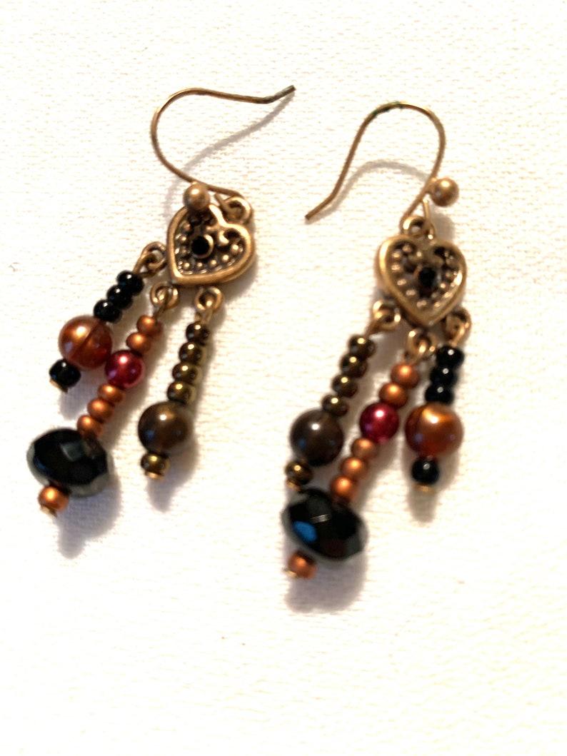 Bronzy Boho Gypsy Beaded Heart Dangle Earrings