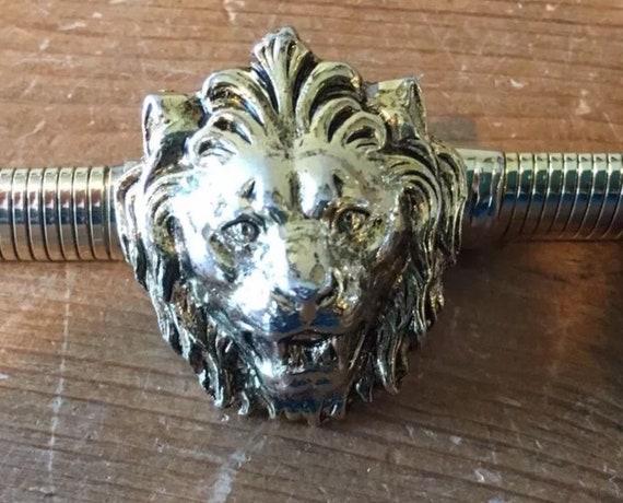 Fierce Anne Klein Lion Head Logo Buckle Goldtone Disco Glamour Runway Snake Chain Belt Signed