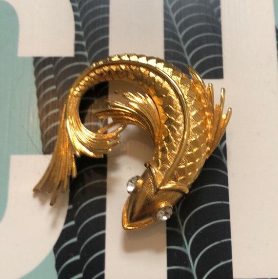 Auspicious Classic Monet Fantail Golden Koi Fish Goldfish Vintage Brooch, now trending unisex lapel pin