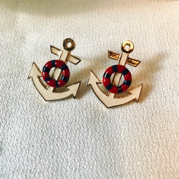 Ship To Shore Anchor Earrings, Classic Preppy Red White and Blue Nautical Summer Jewelry, Ready for Cape Cod, Maine, the Hamptons