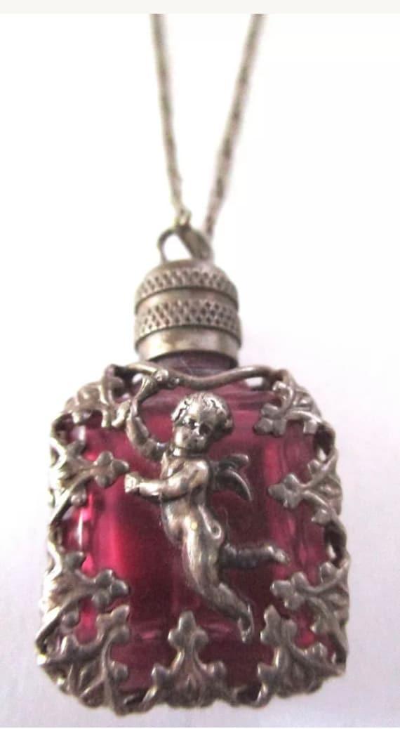 La Vie Parisienne Romantic Cherub Amethyst Glass Mini French Perfume Bottle Stash Necklace signed LVP France, Love Potion no 9