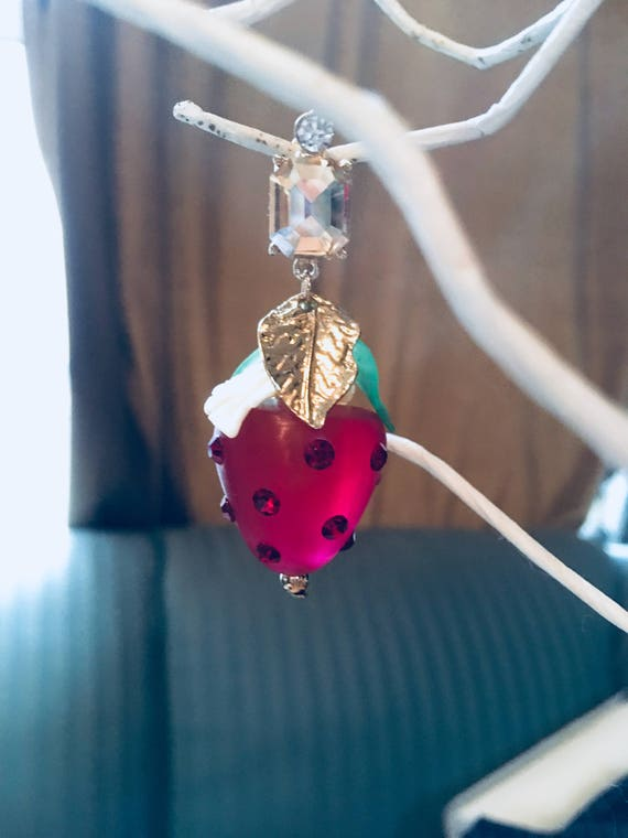 Darling Dangling Red Strawberry Rhinestone and Lucite 90s Runway Fashion Model Earrings, so Cute!