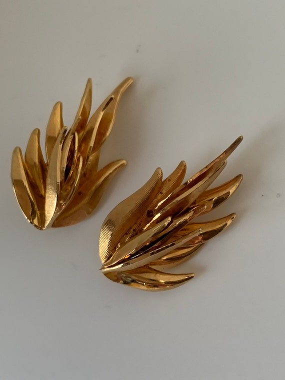 Vintage Modernist Brutalist Golden Flaming Statement Earrings