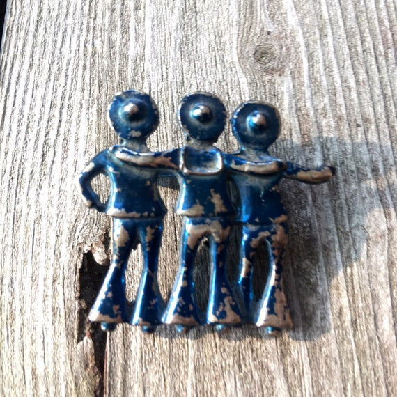 Antique Vintage Blue Tinted Cast Metal Three Sailors walking Arm to Arm pin Brooch