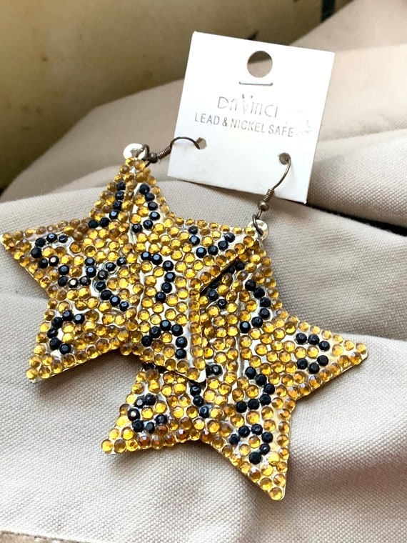 90s Glam Huge Star Earrings, Sparkly Embellished Brass Starfish shimmery Moonglow Dangles still on Original Card