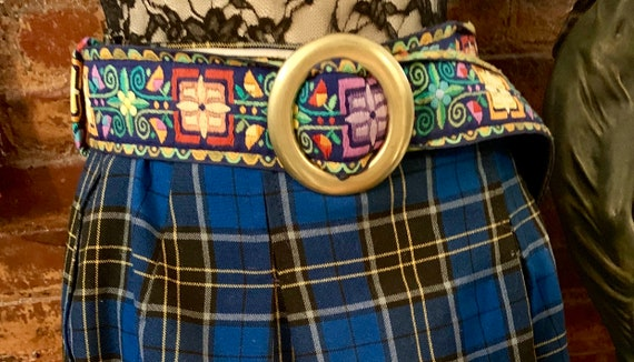 Boho Gypsy Floral Embroidered Belt with Large Brass Buckle by Designer Kristin Kahle