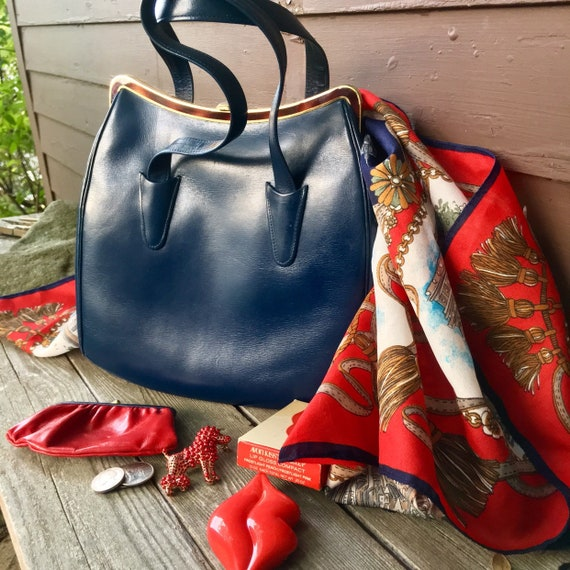 Vintage Grace Kelly Bag, Its Not Hermes but it is a 60s Kelly Style Bag By Macy's NYC beautiful Leather Navy / Red Interior made in France