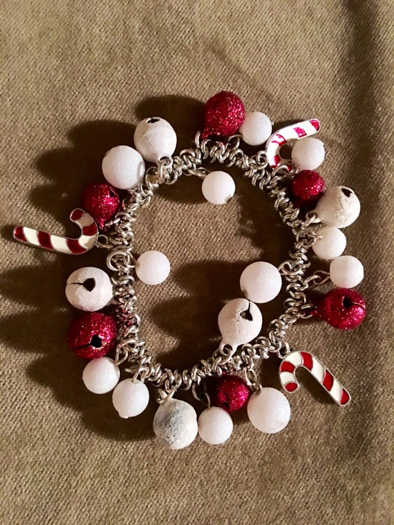 Vintage Christmas holiday bracelet with red & white jingle bells with candy cane charms