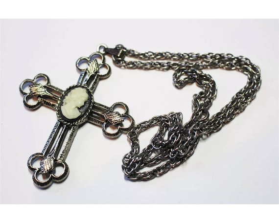 Punky Gothic Cross Pendant Necklace with Victorian Revival Black Cameo Center on Silvertone Chain