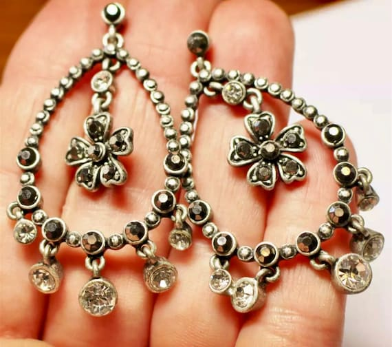 Silvertone & Rhinestone Teardrop Hooped Chandelier Earrings with Tiny Flower Centers and Sparkling Dangles