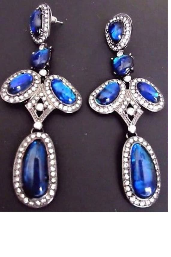 MTV Generation Blue DICHROIC Foil LUCITE & Ice Crystal Dangle and Drop Earrings, Material Girl 90s Costume Jewelry