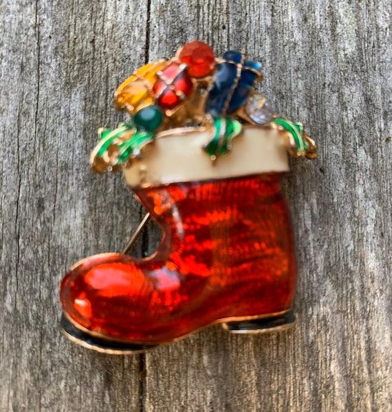 Nostalgic Red Enamel & Rhinestone Gems Christmas Stocking Vintage Brooch, Holiday Unisex Lapel Pin