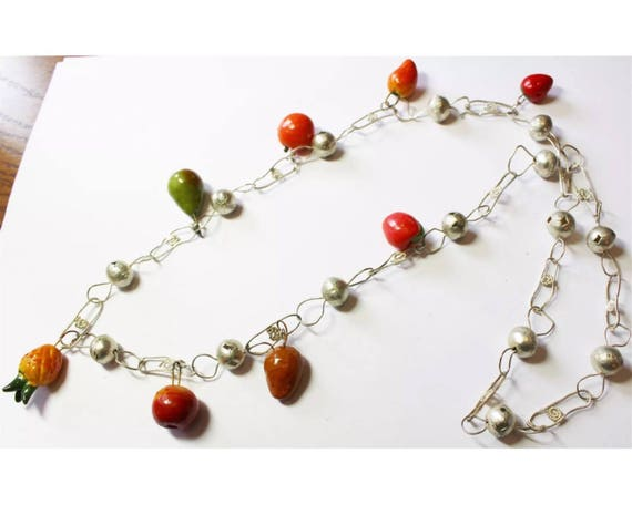 Miniature Rainbow Fruit Charms Fruit Salad on Large Linked Silvertone Necklace