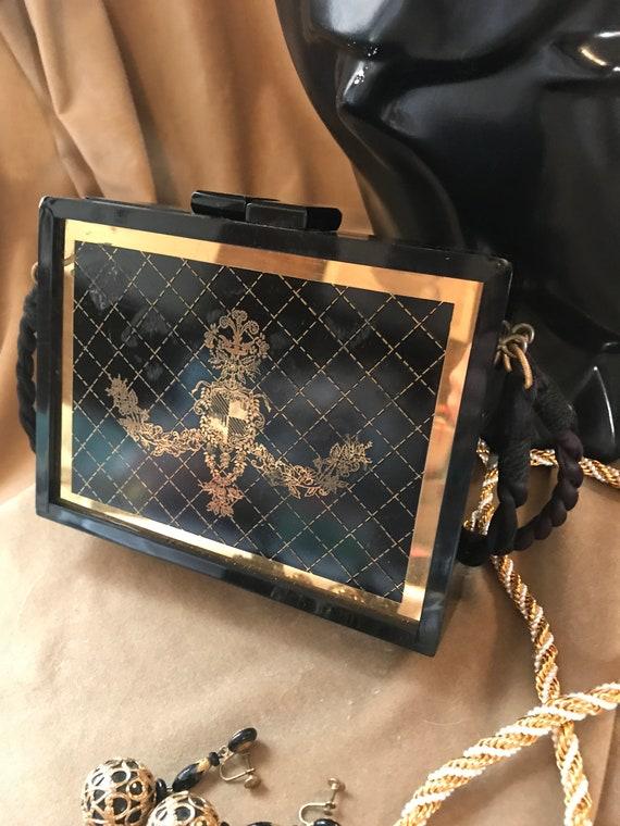 A Glamorous Purse, Vintage Black Lacquer & Ornate Gold Scrollwork Dainty Hollywood Regency Victorian Revival Handbag Evening Bag
