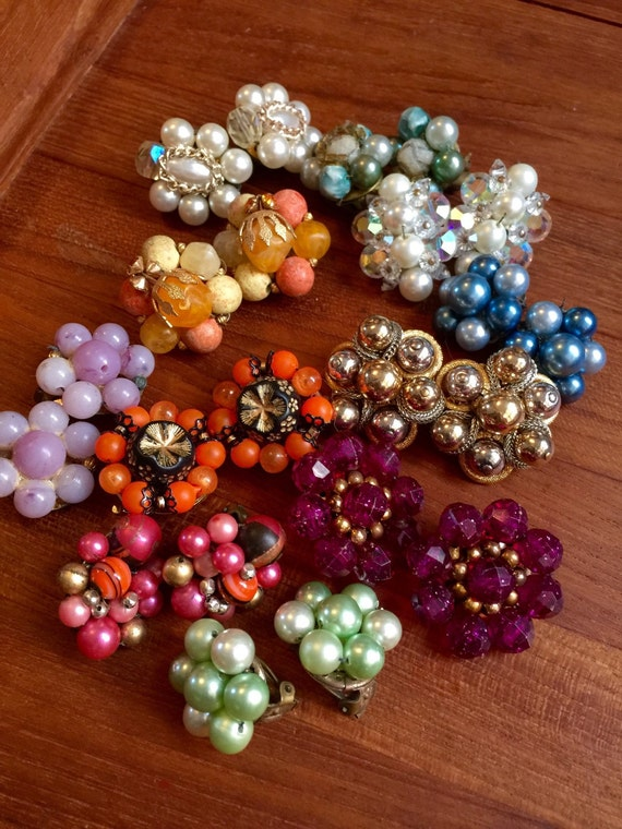 11 pair collection of colorful vintage cluster bead earrings