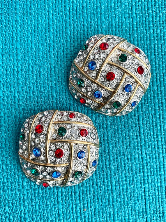 Big 80s Glam Earrings, Sparkly Rainbow and Ice Rhinestone Two Tone Gold & Silvertone Clip Ons