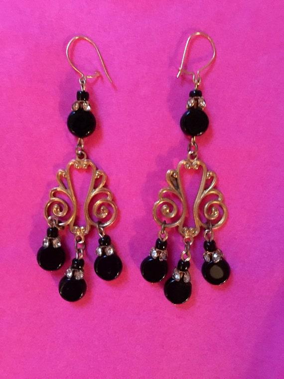 Gorgeous Chandelier Earrings - black stone, rhinestone beads & goldtone scroll 1970's or earlier