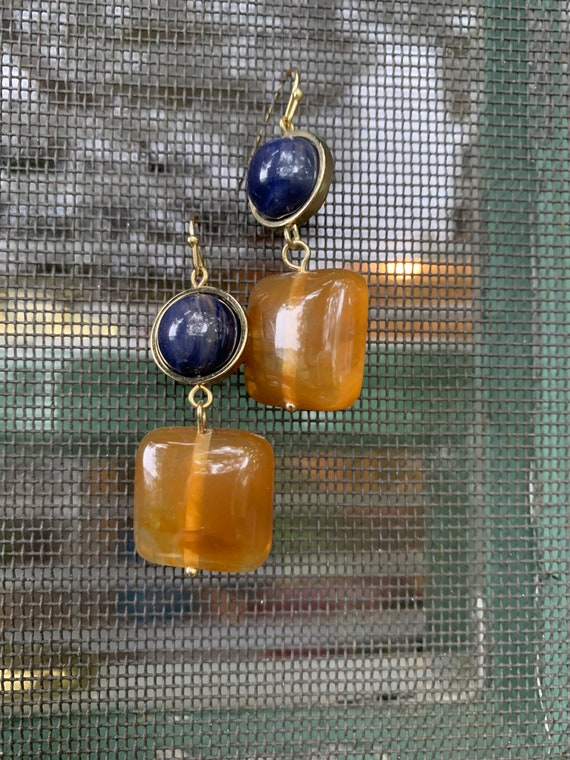 Vintage Modernist Amber & Navy Lucite Drop and Dangle Statement Earrings
