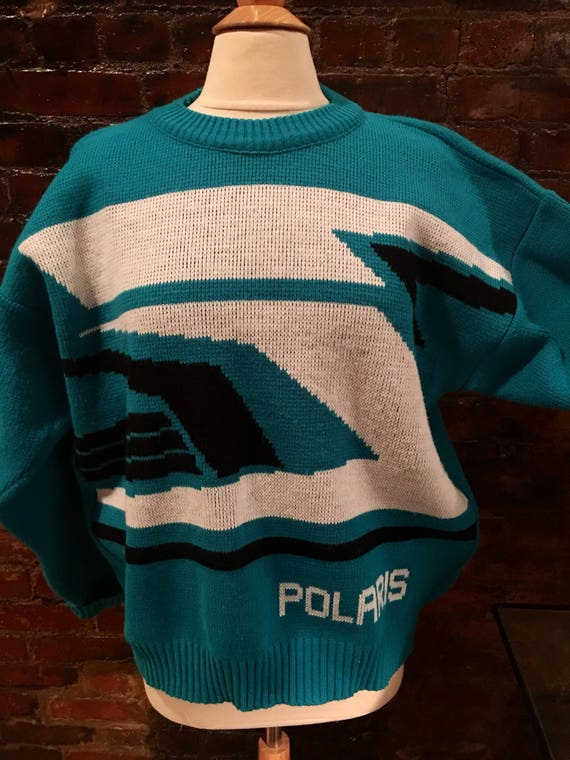 Rad Vintage 80s Polaris Ski Sweater Skyblue White & Black Aztec Modern New Wave Print size L
