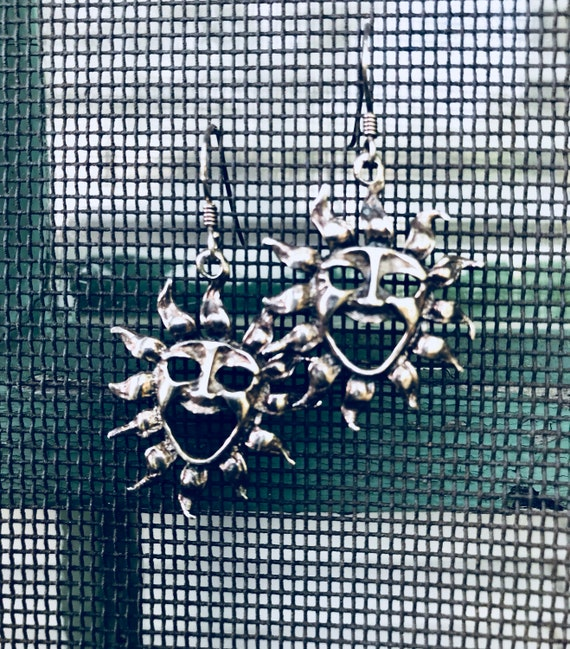 Bohemian Celestial New Age Theatrical Southwestern Silver Laughing Sun Vintage Dangle Earrings