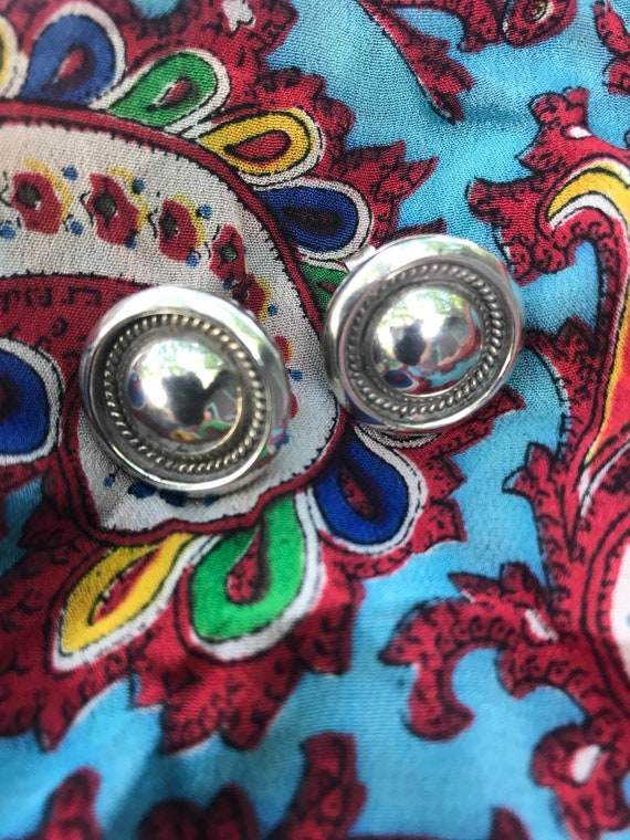 Vintage Navajo Signed Artie Yellow Horse Classic Sterling Native American Designer Southwestern Earrings 1980's