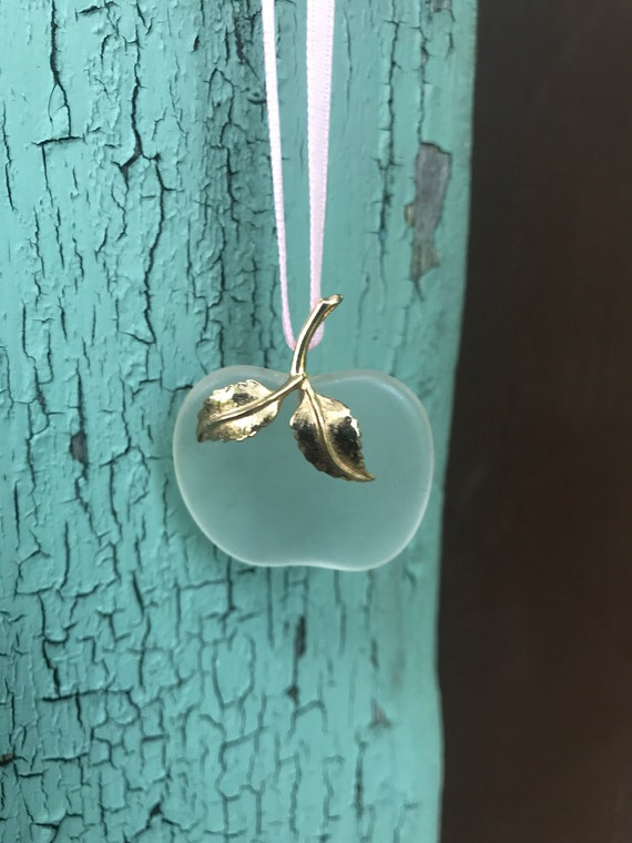 Mid Century Sea Glass with Goldtone Apple Pendant 70's Vintage Original Sin Temptation Adam & Eve Fertitility Faith