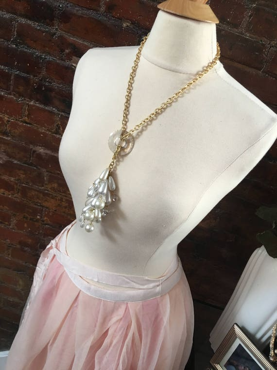 Dazzling Gay Isber One of a kind Custom Made Swarovski Crystal Ring & Faux Pearl Cluster Tassel Necklace