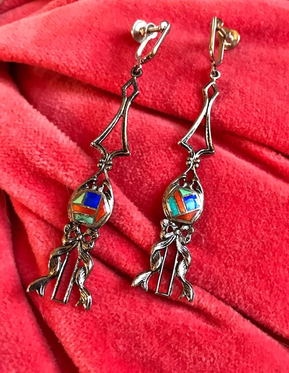 Really Unusually Mid Century Long Dangle Family Crest Sheild Like Gothic Brutalist Bow Mash Up Shiny Silvertone Screw Back Earrings