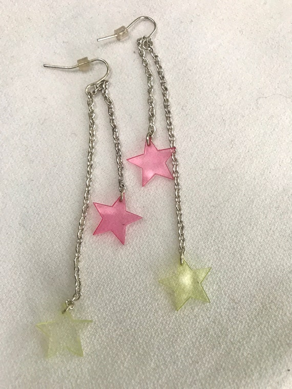 Absolutely Truly Outrageously Pink & Yellow Tranparent Star Dangle Earrings