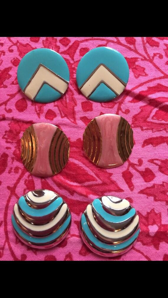 3 pairs of funky fun  pop geometric enamel on metal post pierced earrings