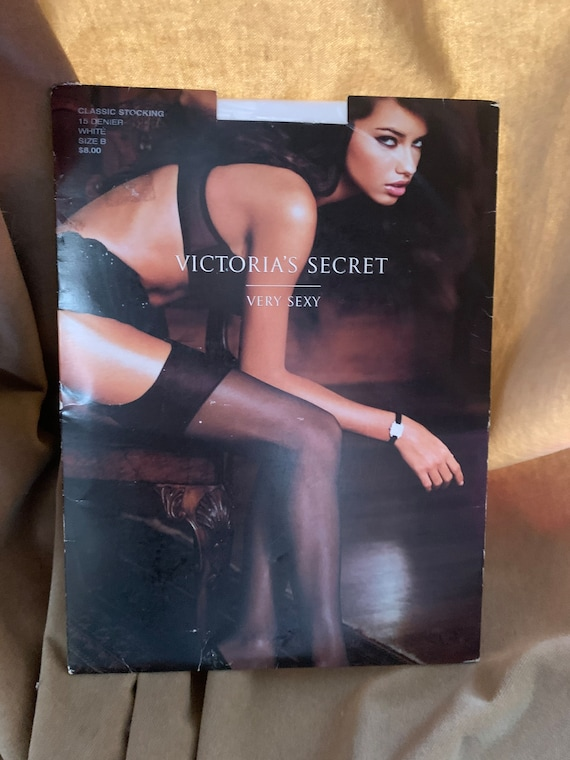 Victorias Secret Very Sexy Sheer White Stockings, NIB late 90s Vintage, Size B, White Wedding Stockings