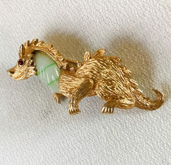 MARVELLA Peking Glass DRAGON Vintage Brooch, Mid Century Hollywood Regency Asian Art Deco Chinese Astrology Dragon Unisex Lapel Pin