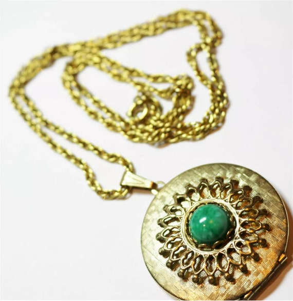 Mid Century Ornate Faux Jade Goldtone Locket Pendant Necklace