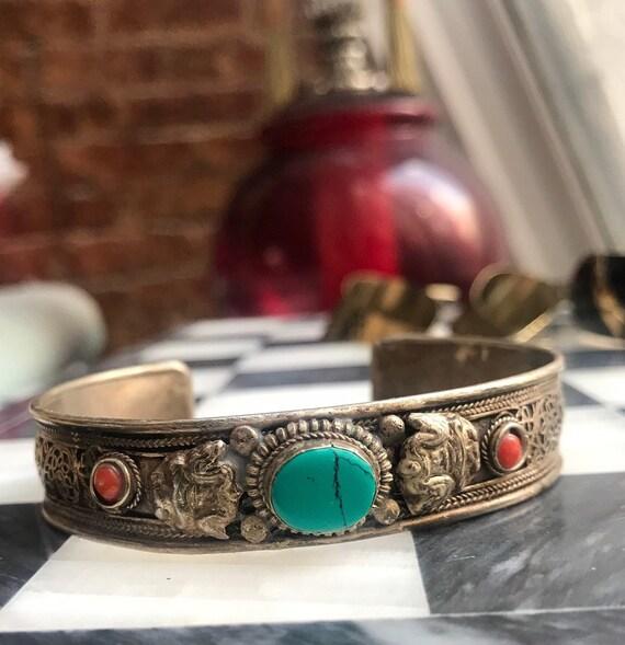 Older Vintage Mens Tibetan Silver Cuff with Turquoise & Polished stones, Meditation Buddhist Yoga Good Vibes, Spiritual Unisex Bracelet