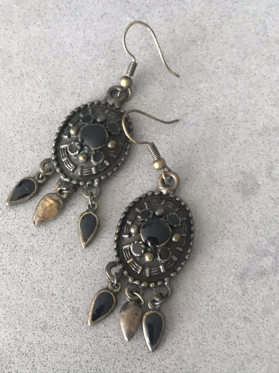 Black Dangles, Faux Onyx Southwestern Boho Gypsy Statement Earrings with swingy beaded tassels