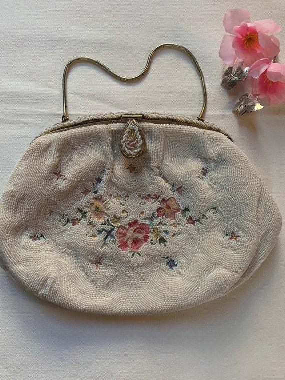 Fancy Beaded Floral Needlepoint Handbag Made in France by DeLill, still Has little vanity mirror in Satin Lined pocket