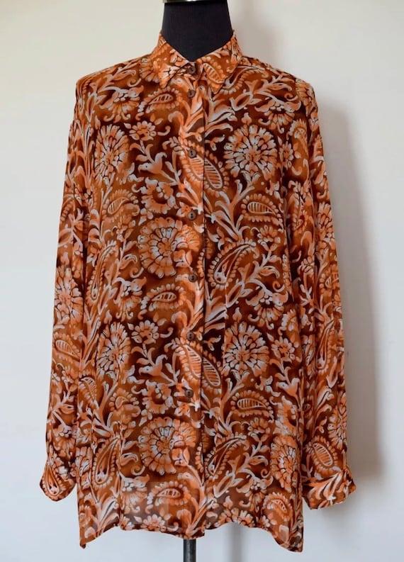 An Oversized Vintage GOTTEX Chiffon Sheer Shirt Blouse Orange Rust Paisley Size EXLarge