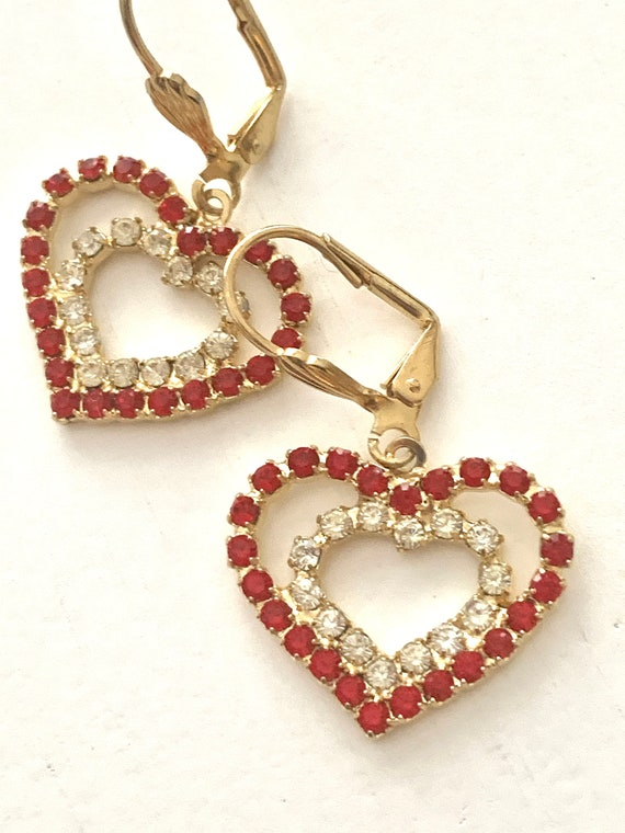 Rockabilly Red Rhinestone Heart Dangles, Sparkly & CheerFul Vintage Earrings, Perfect Valentines Day Gift