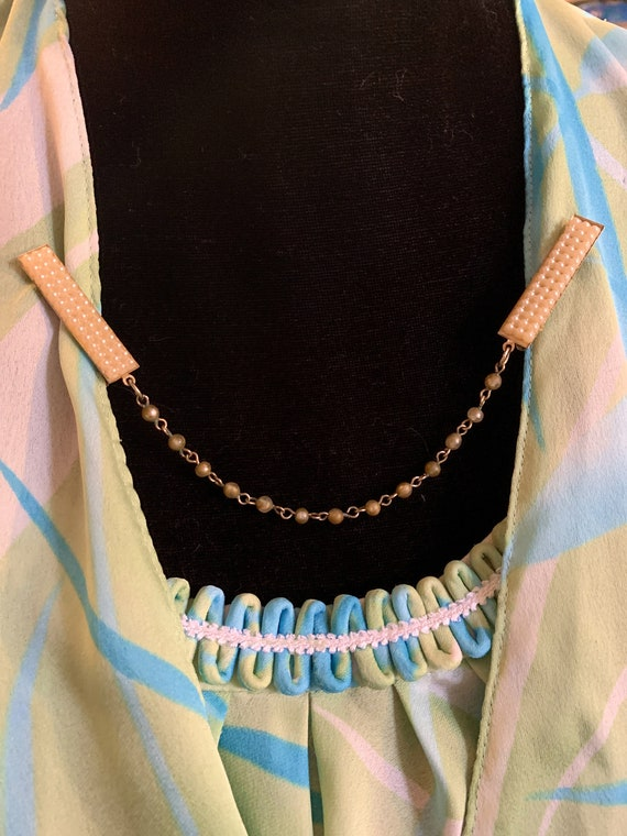Vintage Victorian Revival Blue & White Resin Cameo with Faux Pearl chain  Romantic Sweater Clip