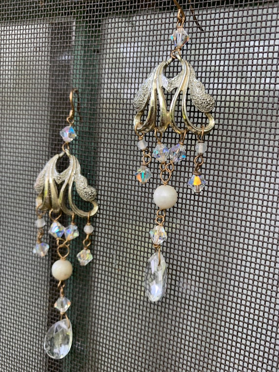Elegantly Romantic Art Nouveau Chandelier Dangle Statement Earrings, whimsical wedding jewelry