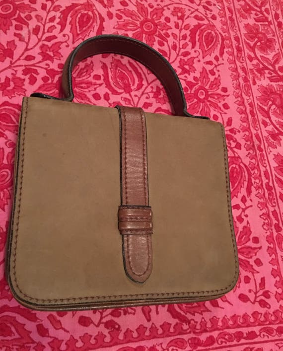 Small leather & nubuck  mini brief or messenger styled hand taupy brown